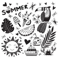 summer time set in ethnic tropical style and word summer in black color