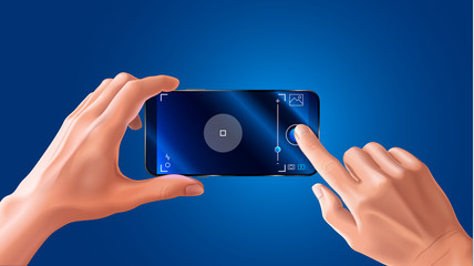 The phone in hand. Horizontal view. Video or photo camera viewfinder recording interface. VECTOR