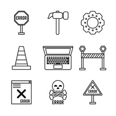 white background with monochrome icons of daily error signals vector illustration