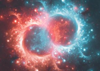 Infinity concept, burning and freezing galaxy illustration