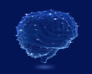 Low poly brain model with wireframe isolated on dark blue background. Concept for artificial intelligence. 3D rendering image.