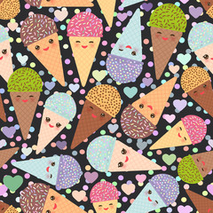 seamless pattern Kawaii funny Ice cream waffle cone, muzzle with pink cheeks and winking eyes, pastel colors on white background. Vector illustration