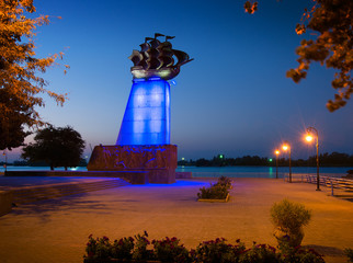Monument to the first ship built at Kherson, Ukraine