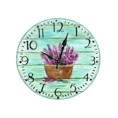Colorful Watercolor Vintage Clock. Turquoise Clock With A Picture Of Lavender Illustration Isolated On White Background. For Design Or Print. Provence Style