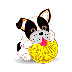 Black and white dog playing with a ball of threads, cartoon on a white background.vector