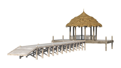 3D Rendering Beach Pavillion on White