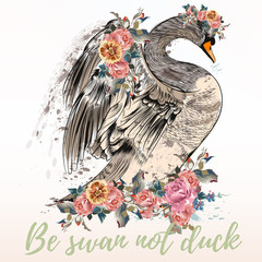 Fashion vector illustration with bird. Be swan not duck, beauty concept