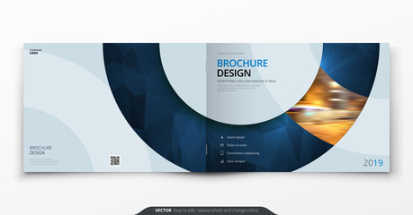Landscape cover design. Blue corporate business rectangle cover template brochure, report, catalog, magazine. Modern cover layout circle shape abstract background. Creative cover vector concept Wall mural