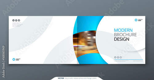 Landscape Brochure Design Blue Corporate Business Rectangle
