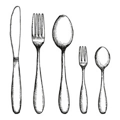 Fork, knife and spoon. Cutlery vector illustration