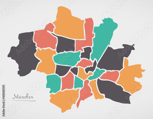 Munich map with boroughs and modern round shapes stock image and munich map with boroughs and modern round shapes gumiabroncs Choice Image