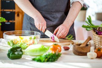 Chef cutting fresh and delicious vegetables for salad