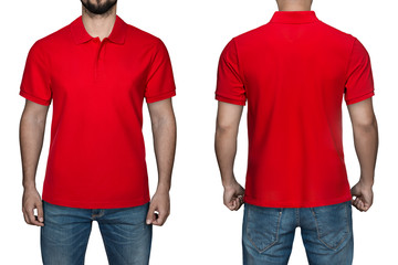 245656fc1085b0 men in blank red polo shirt, front and back view, isolated white background.