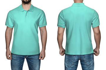 24a24e7f7c562a men in blank turquoise polo shirt, front and back view, isolated white  background.