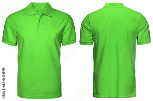 """blank green polo shirt, front and back view, isolated ...