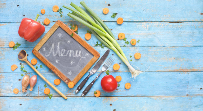 food ingredients and chalk board for menu or recipes, free copy space, flat lay