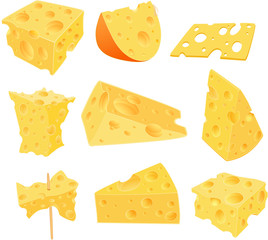 Set Cartoon Illustration. Cheese Clip Art for you Design