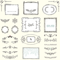 Set of hand drawn frames, labels, flowers, floral dividers and design elements. Vector illustration.
