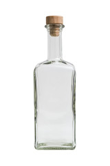 Glass transparent empty simple square bottle with plug on isolated background.