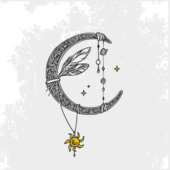 Symbols of the planets. Moon. Vintage style. Vector illustration.