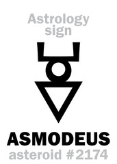 Astrology Alphabet: ASMODEUS (Hashmedai), asteroid #2174. Hieroglyphics character sign (single symbol).