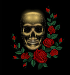 Vintage human skull bone flower red rose arrangement. Embroidery fashion decoration patch. Low poly polygonal triangle dead muertos vector illustration template