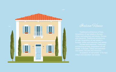 Traditional Italian house. Mediterranean architecture. Tuscany. Summer in the European countryside