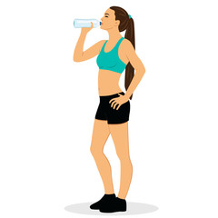 Healthy Lifestyle. The girl is drinking water.