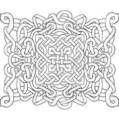 Celtic black and white pattern. Scandinavian ornament. Ribbon background. Vector illustration.