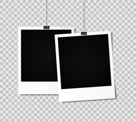 Blank photo frame set hanging on a clip. Vintage Photo Frame. Stock vector