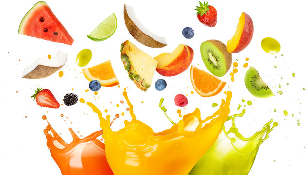 mixed fruit falling in colorful juices splashing