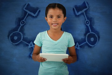 Composite image of portrait of cute smiling girl holding digital
