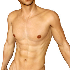 Sexy muscular body of a 3d young male
