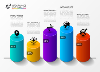 Infographic design template. Columns and percents. Vector