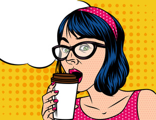 Young beautiful in retro style woman  with cup of coffee. Girl  in glasses of the European type with speech bubble on background of pop art style