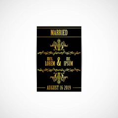 Wedding Invitation Golden Card, Vector, Illustration, Eps File