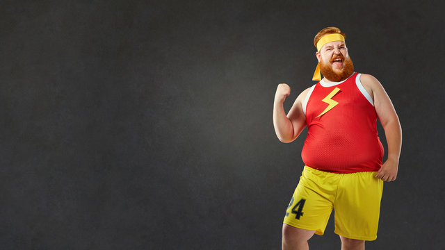 Funny man wearing sports clothes