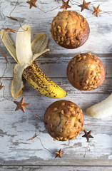 top view banana muffins and stars in rustic setting