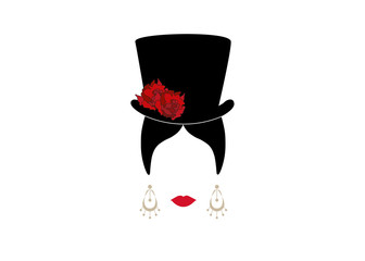 Lady with top hat and red flowers , Portrait of modern Latin or Spanish woman in male version, Icon isolated, Vector illustration transparent background