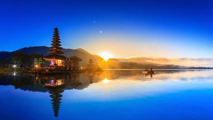 Pura Ulun Danu Bratan Temple On Water, Landmark Travel Place Of Bali, Indonesia (HDR Night And Day)