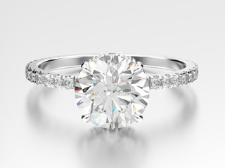 3D illustration white gold or silver engagement ring with diamond with reflection