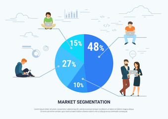 Market segmentation infographic vector illustration of professional people sitting on round diagram with divided segments. Flat people working with laptop developing project. White business background