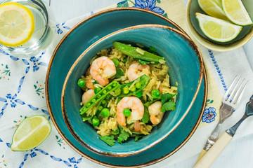 Thai prawn and pea pilaf