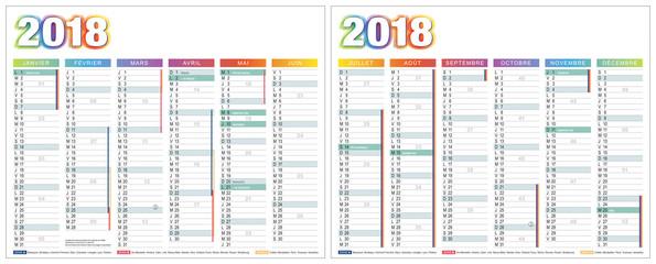 CALENDRIER 2018 FRANÇAIS SIMPLE vectorisé (base pour 265x210mm recto-verso. Ech1) j. fériés, vacances scolaires, chang heures, 14 calques