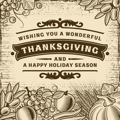 Thanksgiving Vintage Brown Card. Editable vector illustration in woodcut style with clipping mask.