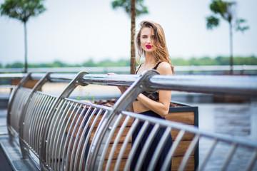 girl posing in park