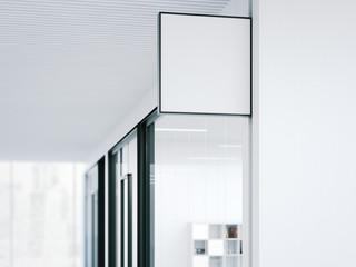 Blank banner in modern office. 3d rendering