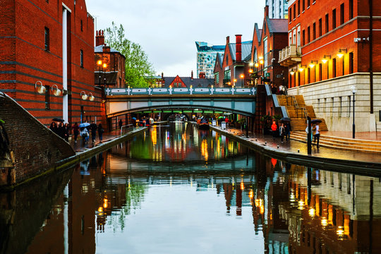 People walking at famous Birmingham canal in UK