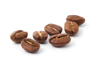 Poster de jardin Salle de cafe roasted coffee beans isolated in white background cutout