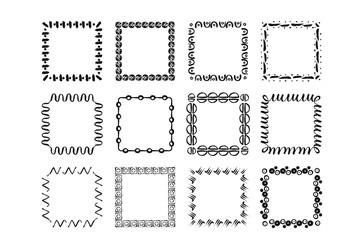 Vector modern geometric handdrawn ink frames. Set of 12 modern frames.